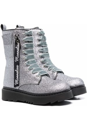 MONNALISA Glitter-detail chunky leather ankle boots