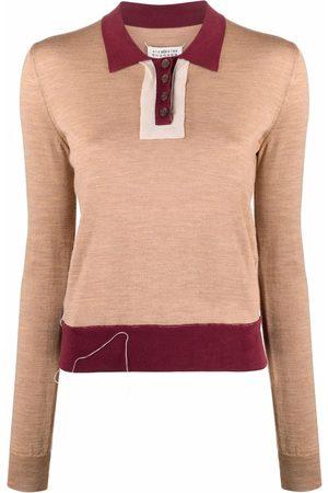 Maison Margiela Fine-knit long-sleeve polo shirt
