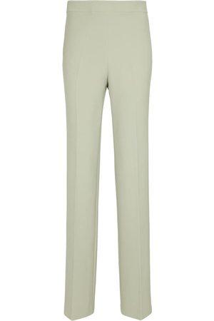Safiyaa Pantalones rectos de crepé de talle alto Goldie
