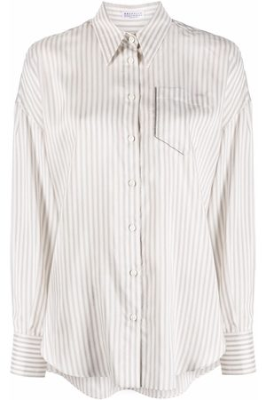 Brunello Cucinelli Camisa a rayas con ribete metalizado