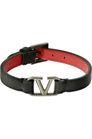 VALENTINO GARAVANI | Hombre Brazalete De Piel Con Logo V /rojo Unique