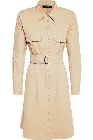 Max Mara | Mujer Vestido Mini De Sarga De Algodón Con Cinturón 36