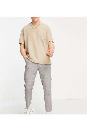 New Look Pantalones de vestir marrones a cuadros de corte tapered de