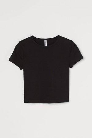 H&M Mujer Crop tops - Camiseta cropped en canalé