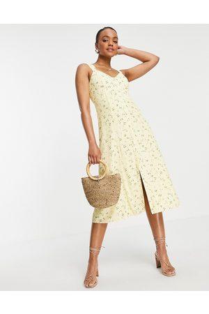 Forever New Vestido midi de tarde color limón estilo años 90 con estampado floral de -Amarillo