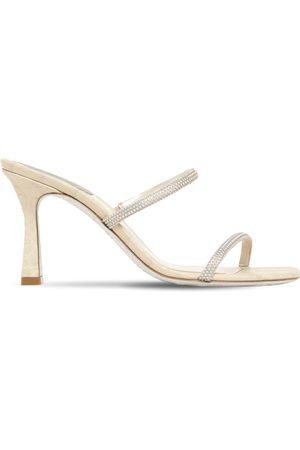 RENÉ CAOVILLA René Caovilla   Mujer Zapatos Mules De Satén Decorado 80mm /beige 35
