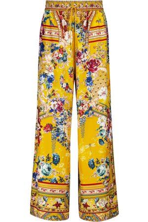 Camilla Pantalones de faya de seda florales