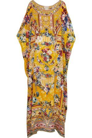 Camilla Caftán de seda estampado con adornos