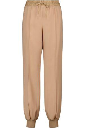 Jil Sander Mujer Pantalones de talle alto - Pantalones deportivos de gabardina de lana