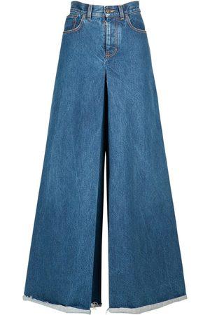 Maison Margiela   Mujer Pantalones Maxi De Denim De Algodón 36