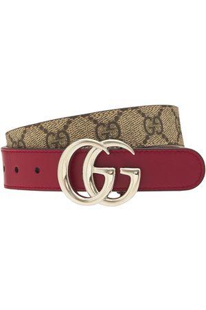 Gucci | Niña Cinturón Gg De Piel Sintética /rojo 50 Cm