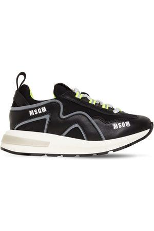 Msgm   Niña Sneakers De Piel Y Neopreno Con Cordones /gris 35