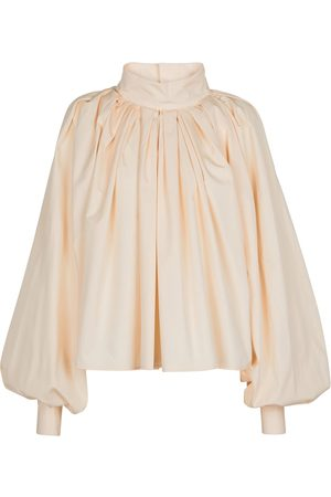 Jil Sander Blusa de algodón plisada