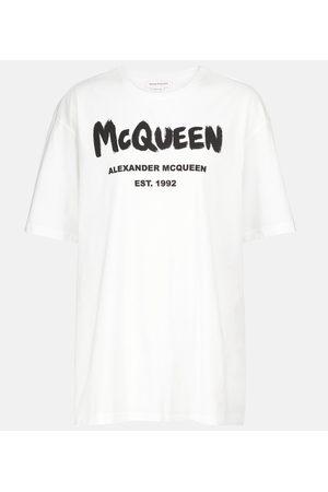 Alexander McQueen Camiseta de punto de algodón con logo