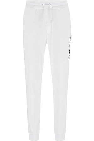 BOSS Cotton-blend tracksuit bottoms with colourful logo