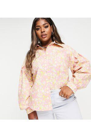 Lost Ink Camisa extragrande con estampado floral retro y mangas abullonadas de