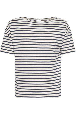 Saint Laurent | Hombre Camiseta De Algodón A Rayas /azul Xs