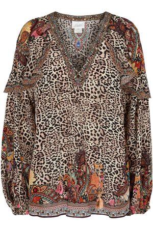 Camilla Blusa de seda con print de leopardo