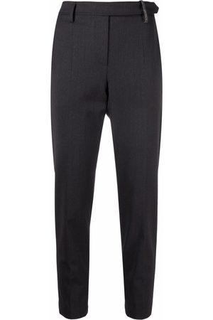 Brunello Cucinelli Pantalones slim con detalle de Monili