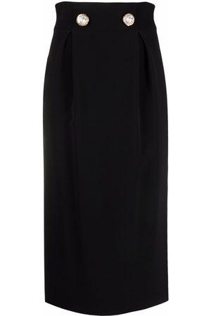Versace Mujer De tubo - Falda midi con detalles de cristal