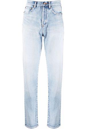 Saint Laurent Mujer Cintura alta - Vaqueros slim con efecto lavado
