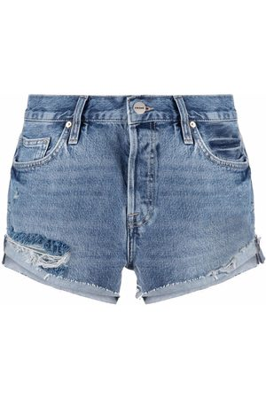 FRAME Pantalones vaqueros cortos con efecto envejecido