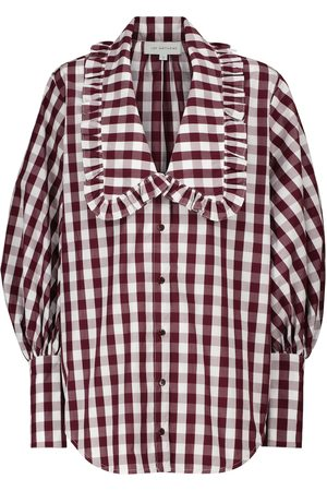 Lee Mathews Blusa de algodón de cuadros vichy