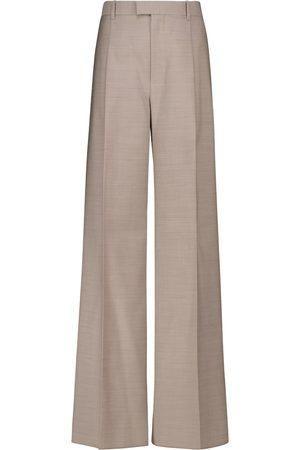 Bottega Veneta Pantalones de pernera ancha de lana de tiro alto