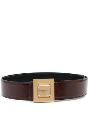 Dolce & Gabbana Engraved-logo leather buckle belt