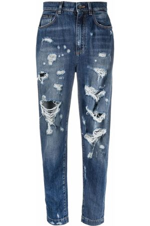 Dolce & Gabbana High-waisted distressed tapered jeans