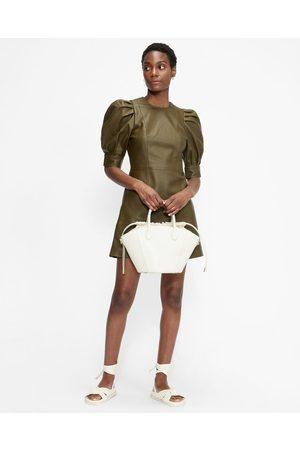 Ted Baker Leather Puff Sleeve Mini Dress