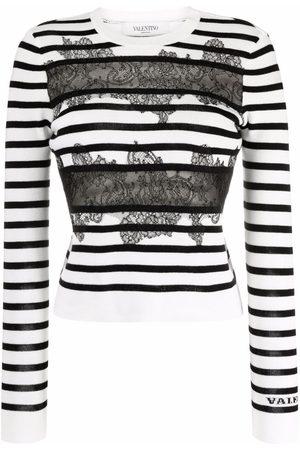 Valentino Mujer Jerséis y suéteres - Jersey a rayas con detalle de encaje