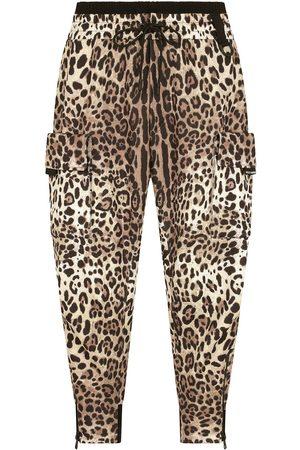Dolce & Gabbana Pantalones tapered con estampado de leopardo
