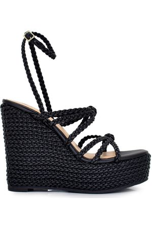 Exé Shoes Alpargatas CUÑA CON DETALLE TIRAS BLACK NAOMI-360 para mujer