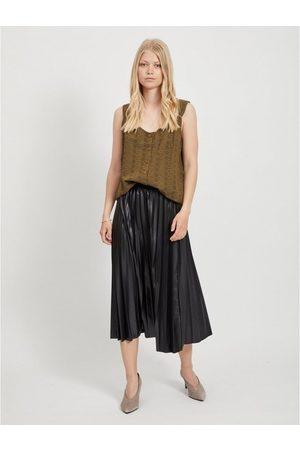 VILA Falda Nitban Midi Skirt Black para mujer