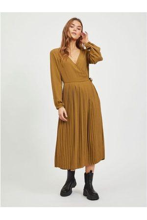 VILA Vestido largo Meju Midi Dress Butternut para mujer