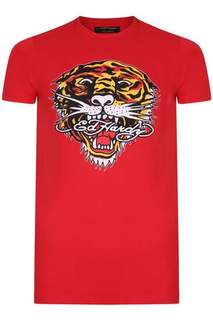 ED HARDY Camiseta Tiger mouth graphic t-shirt red para mujer