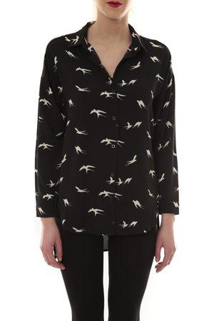 Comme Des Filles Camisa manga larga Chemise Noir Oiseaux Blanc CH105 para mujer
