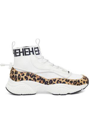 ED HARDY Zapatillas altas Knit runner-wild white/leopard para mujer