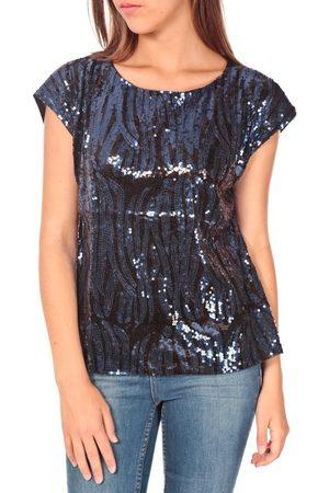 Tcqb Camiseta Top 23171 paillettes Julie GG Noir/Bleu para mujer