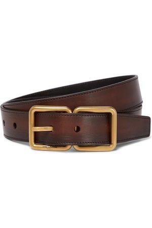 Saint Laurent Cinturón de piel con hebilla doble