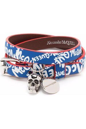 Alexander McQueen Pulsera con banda y logo