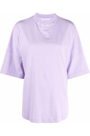 Palm Angels Camiseta sin mangas con logo estampado y cuello alzado