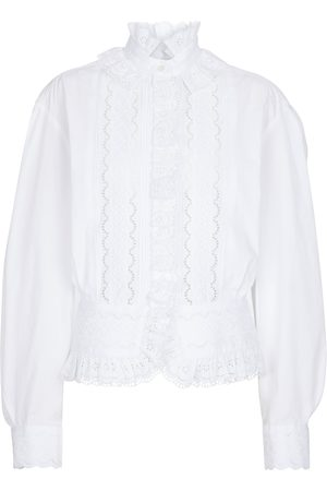 Paco rabanne Blusa de algodón con bordado inglés