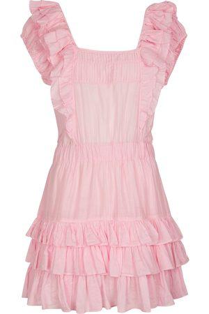 LOVESHACKFANCY Vestido corto Ivoire de algodón y seda