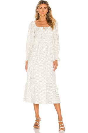 FAITHFULL THE BRAND Vestido midi dariya en color blanco talla L en - White. Talla L (también en XS, S, M, XL).