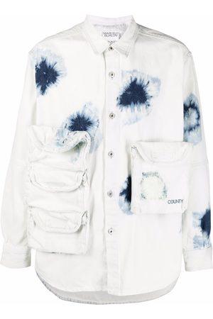 MARCELO BURLON Hombre Camisas - SHIBORI ZIP POCKET DNM SHIRT WHITE DARK