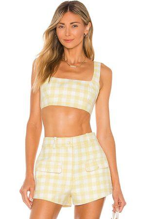 Camila Coelho Clarisse top en color amarillo limon talla L en - Lemon. Talla L (también en XS, S, M, XL).