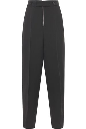 Jil Sander | Mujer Pantalones Anchos De Seda Y Viscosa Con Cinturón 36