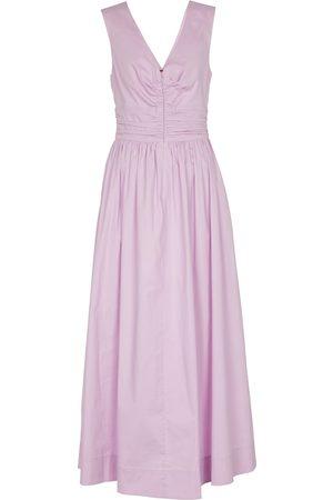 Staud Mujer Casual - Vestido largo Gloria de algodón elástico